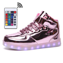 Remote Women Mens 11 Colors High-top LED Shoes for Adult White Black Glowing Light Up Flat Luminous Chaussure