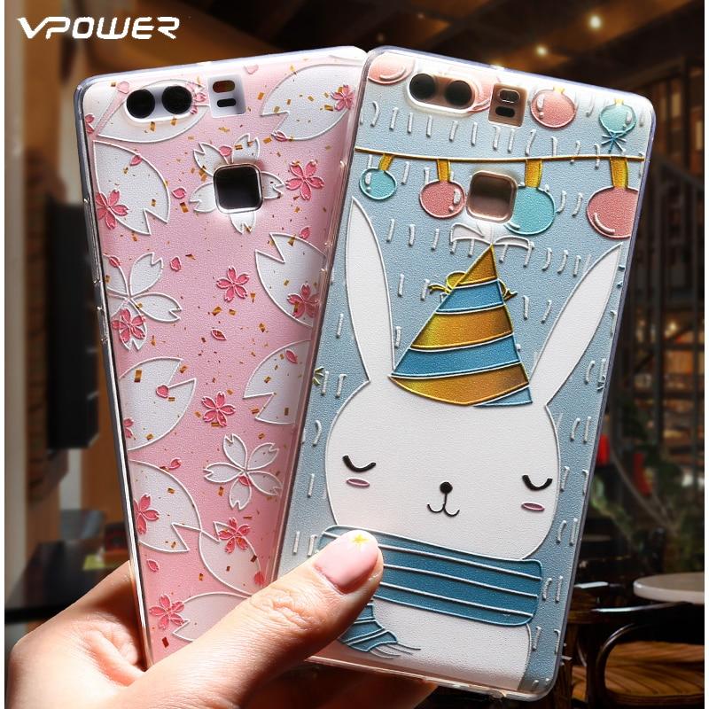 Vpower para Huawei P9 Funda 3D Relief Carcasa trasera de dibujos - Accesorios y repuestos para celulares - foto 2