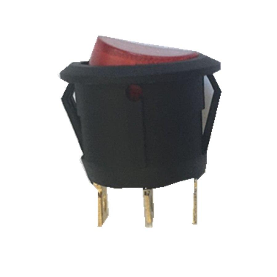 Push button anahtarı Rocker anahtarı SPST 125V Panel montaj yuvarlak rocker anahtarı 3pin delik 6-10A AC125-250V,200 adet/grup