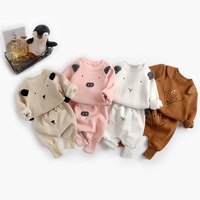 Baby Girls Clothing Sets Autumn Winter 2PCS Animal Design Warm Velvet Clothes Infant Toddler Sweatshirt+pants for Boys Wholesale