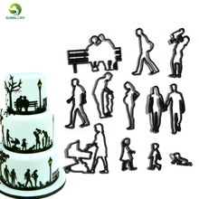 11PCS Family Cookie Cutter Plastic People Woman Man Baby Children Fondant Cutter Baking Figure Cake Mold Cake Decorating Tools