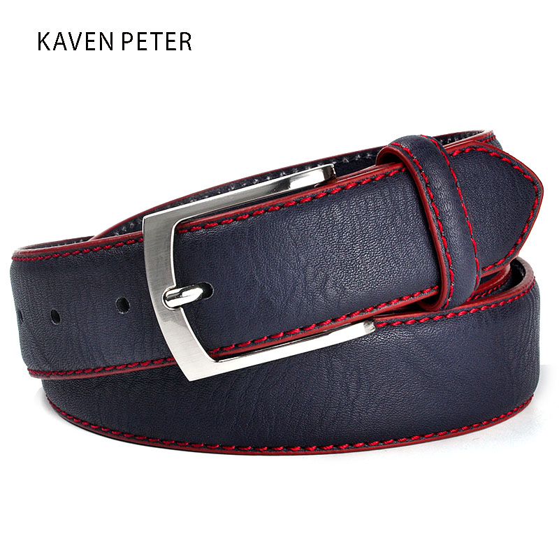 Fashion High Quality Brand Man Belt Split Leather Belt Italiensk Design Casual Herr Leather Belts For Jeans För Man Gratis frakt