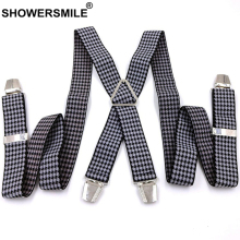 SHOWERSMILE Men Susupenders Houndstooth Elasticated Adult Suspender Casual Classic Braces Mens Trousers 4 Clips Male Pants Strap