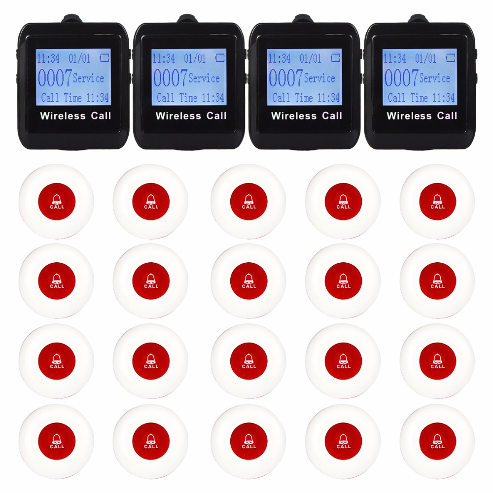 4 Watch Pager Receiver 20 Call Button 433MHz Wireless Calling Paging System Guest Call Pager Restaurant Equipment F3258 restaurant pager wireless calling system 1pcs receiver host 4pcs watch receiver 1pcs signal repeater 42pcs call button f3285c