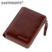 EASTNIGHTS 2017 New Men Wallets High Quality Genuine Leather Men Purse With Coin Pocket Card Holder Zipper Wallet TW1672