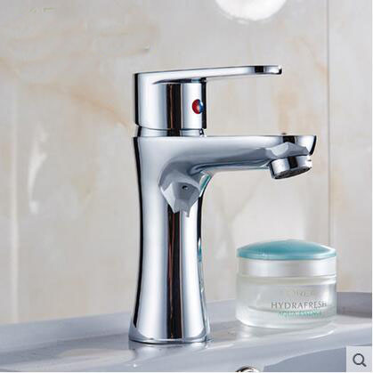 Single hole brass faucet hot and cold, Bathroom sink basin water tap mixer, Chrome plated waterfall wash basin faucet 2016 hot sale chrome finishing 360 degree rotate brass single lever water tap bathroom sink mixer basin faucet