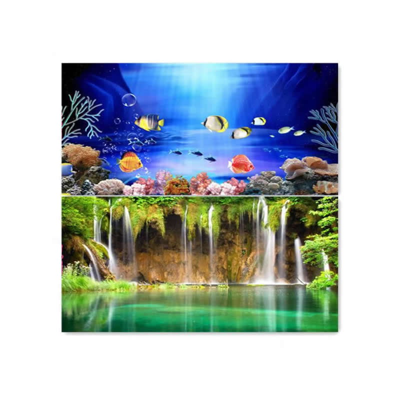9081 15 meters roll double sided color fish waterfall for Aquarium waterfall decoration