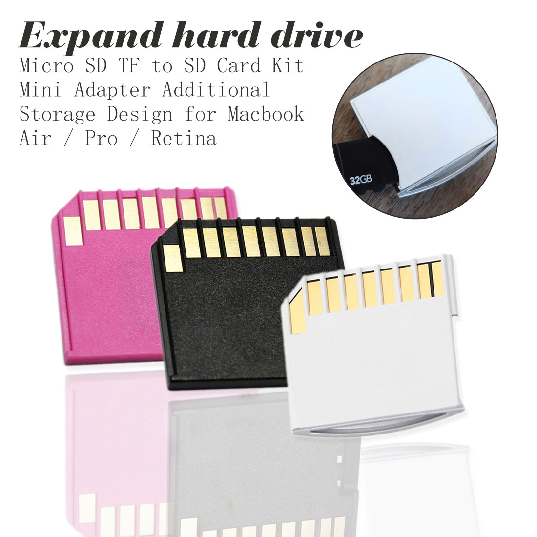 Card Adapter White Mini Card Set For MacBook Air Pro TF to  MacBook Card Set Hard Disk DevelopmentCard Adapter White Mini Card Set For MacBook Air Pro TF to  MacBook Card Set Hard Disk Development
