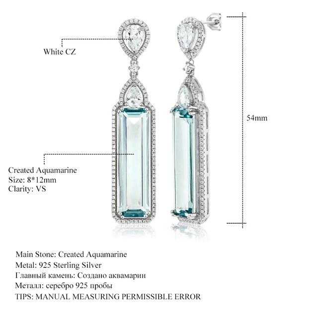 GemStoneKing 925 Sterling Silver 12.00 Ctw Baguette Cut Simulated Aquamarine & White CZ Art Deco Dangle Earrings For Women