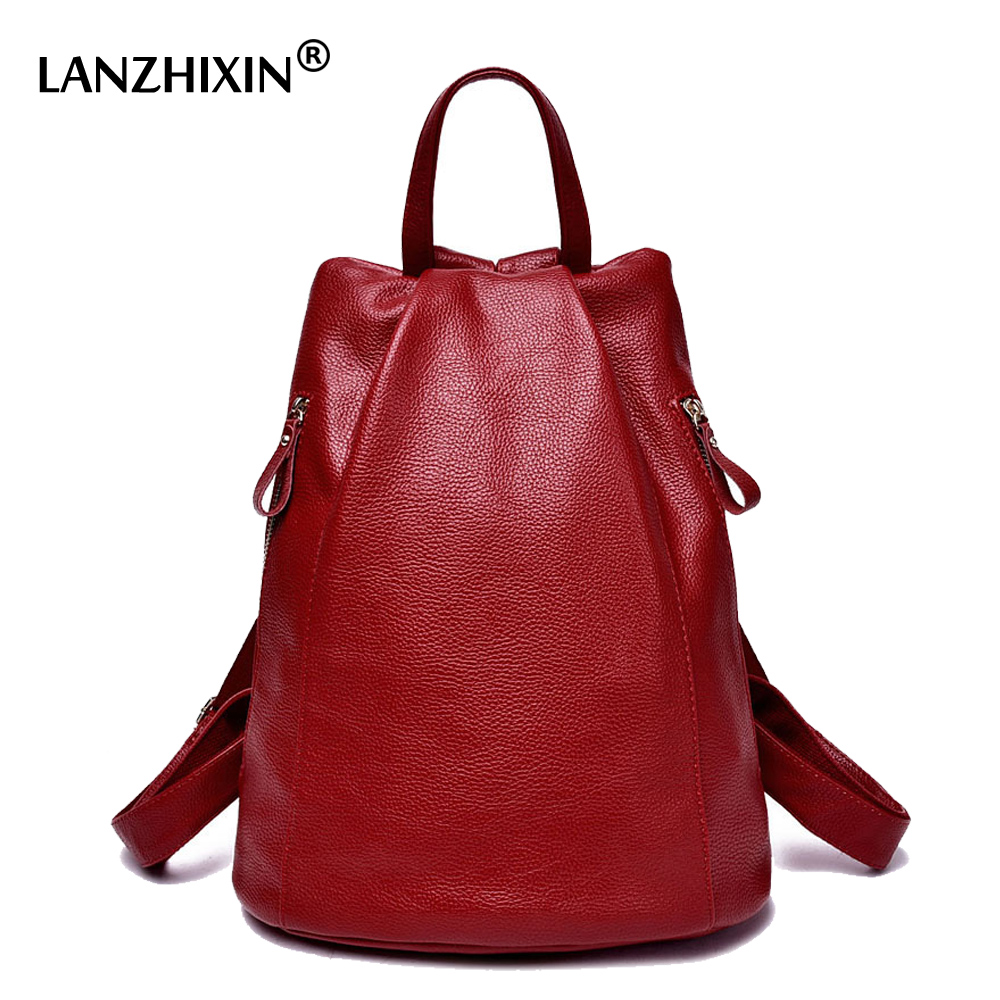 Lanzhixin women leather backpack for women backpack girls school bags for teenagers preppy style backpacks students bags mochila
