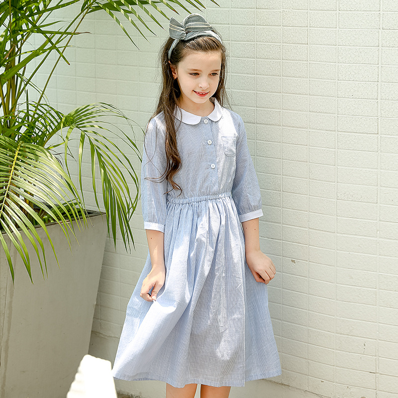 New 2018 Spring Cotton School Girl Dress with Pockets Long Teenage Kids Princess Dress Children Dress Brand Girls Clothing,#2652 dress girl princess 2018 spring new