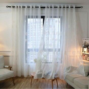 Byetee Bestickt Fenster Vorhänge für Wohnzimmer Tür Vorhang ...