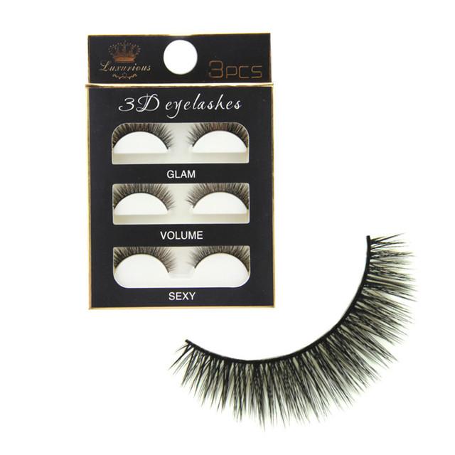 One Pieces Long Magnetic Eye Lashes Makeup Black 3D Reusable False Magnet Eyelashes Artificial fiber