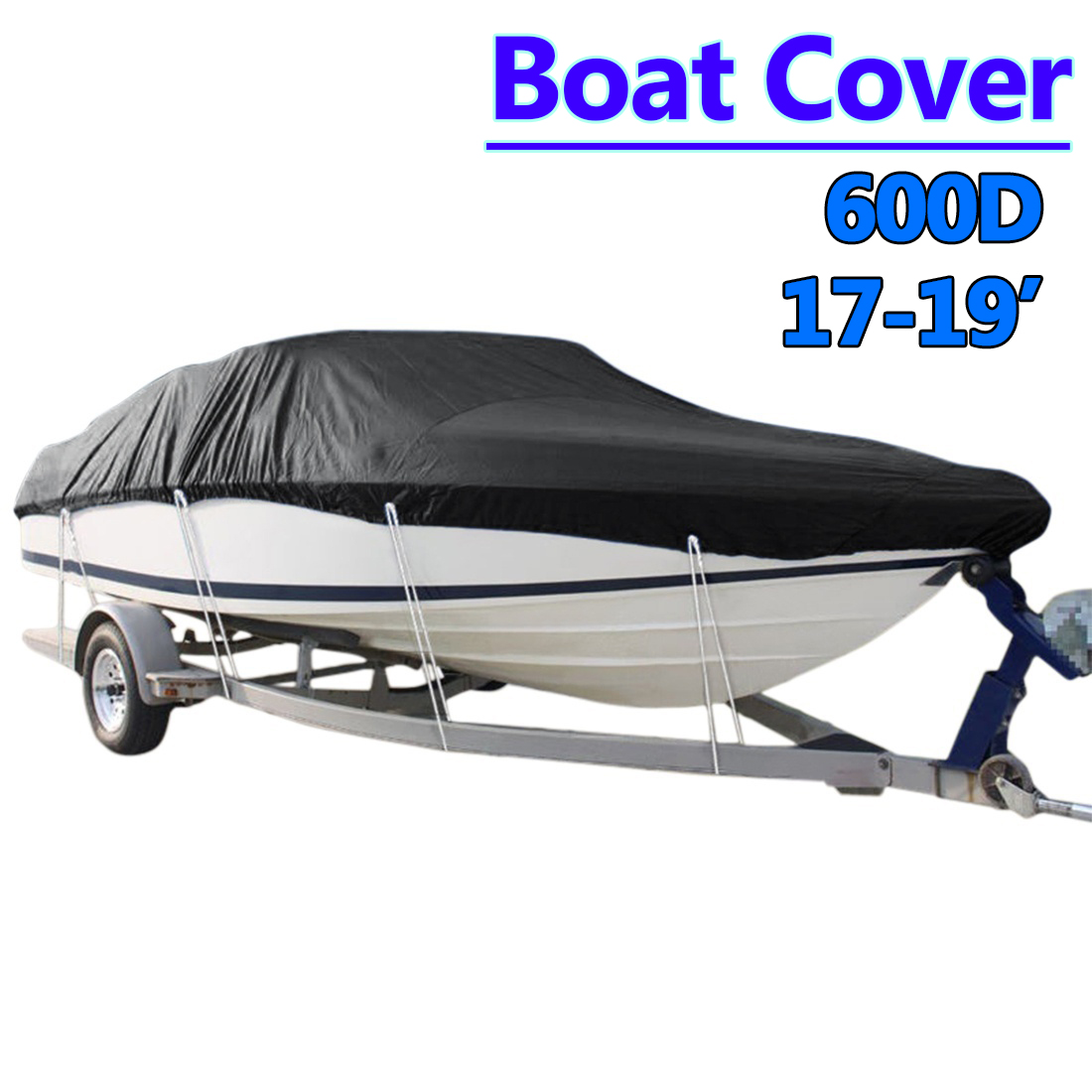 Heavy   17-19ft Beam 96inch Trailerable 600D Marine Grade Boat Cover Waterproof UV Protected Black Boat Accessories