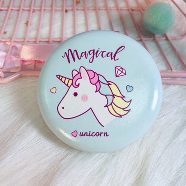Wedding Gifts for Guests Rainbow Unicorn Beauty Hamburger Mirror Unicorn Party Favors Portable Folding Double-sided Mirror
