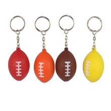 цены Rugby Ball Shape Soft PU Foam Keychain Key Chain Key Ring Bag Decorate Hanging Ornament Pendant