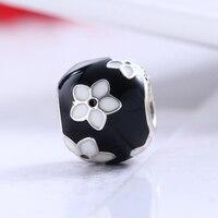 Bất động 925 Sterling Silver Bạc Black & White Ename Hoa Charm Hạt Fit Gốc DIY Pandora Bracelet Charm Authentic Đồ Trang Sức M