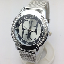 Watch Women Geneva Crystal Casual Quartz Watches Men Metal Mesh Belt Business Wristwatches Zegarki damskie Montre Femme