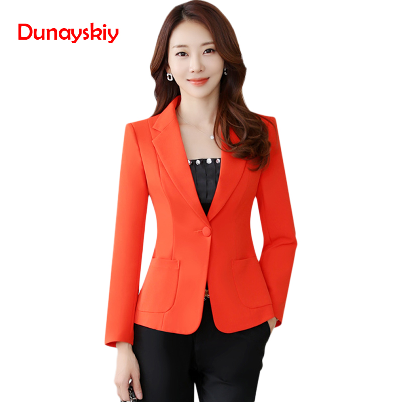 Dunayskiy women 2018 New Autumn Blazers Plus Size Slim Long Sleeve 4 Colors Solid Office Lady Work Wears Korean Style Casual