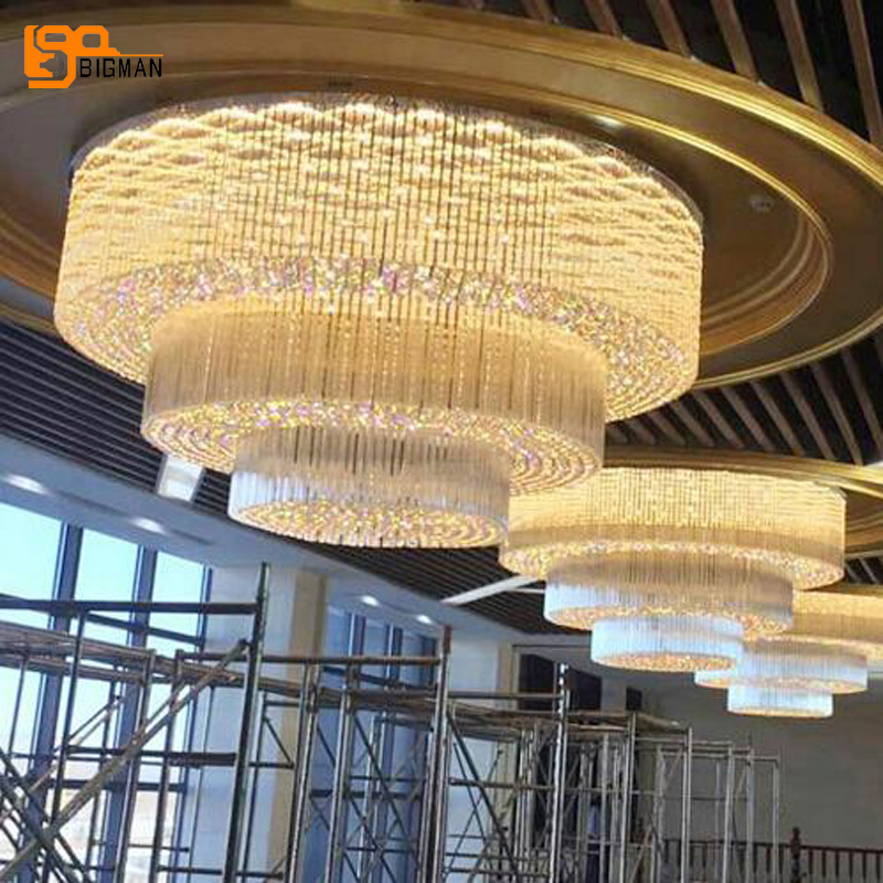 New design large crystal chandelier LED light modern 3 layers luxury hotel lobby chandeliers living room lights new luxury modern crystal chandeliers led living room chandelier lighting fixtures gold plated hanging lights with glass shade