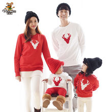 2019 New Year Christmas Family Clothing Deer Family Look Mother Daughter Father Son Cotton Boy Girl Shirt Family Matching Outfit(China)