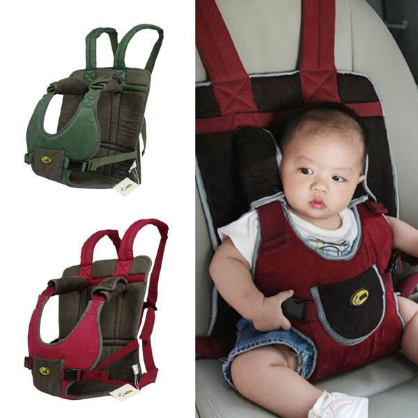 Green A168 Soft Suede Baby Car Safety Seat Portable Infant