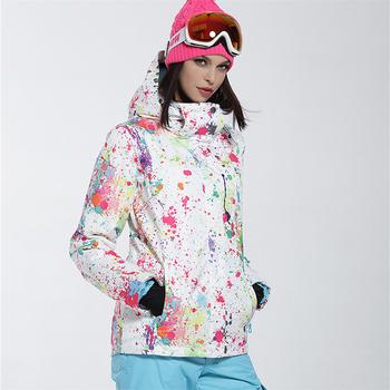 Brand New Winter kurtki narciarskie garnitur kobiety odkryty wodoodporna ubiory narciarskie Snowboard kurtki śnieg narciarstwo wspinaczka ubrania tanie i dobre opinie Jocelyn Katrina WOMEN Drukuj Z kapturem Pasuje prawda na wymiar weź swój normalny rozmiar WO-JIAKE-05 COTTON Poliester