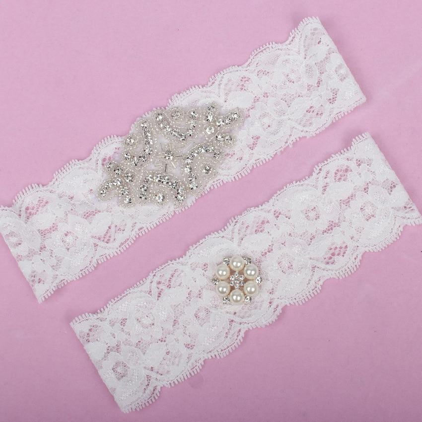 Ivory Wedding Garter Set Lace Flower Bridal Garter Pearl