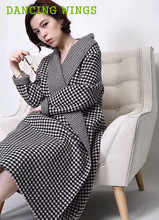 Autumn Winter Women Cashmere Wool Coat Temperament Slim Lapel Long Sleeve High-grade Cashmere Grid Coat