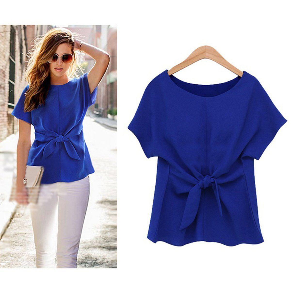 New Arrival Elegant Womens Ladies Short Sleeve Front Bandage Casual Chiffon   Shirt   Tops   T  -  Shirt   Three Colors