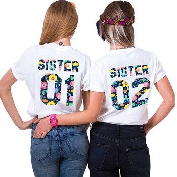 69430f1c78423 Сестра 01 сестра 02 BFF письмо цветочный принт футболка с коротким ...