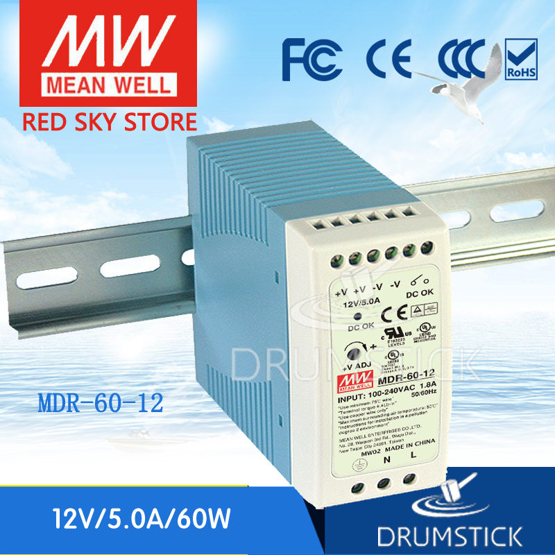 MEAN WELL DIN Rail Switching Power Supply 12 Volts 5 Amps 60 Watts DRA-60-12