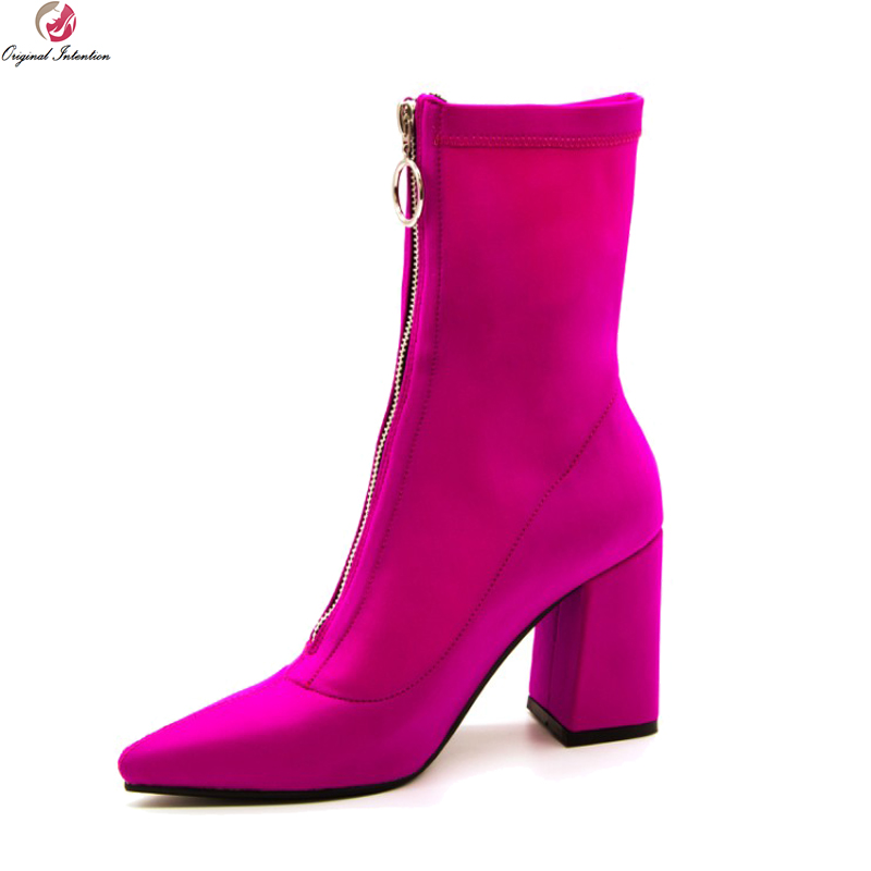 Original Intention New Stylish Women Ankle Boots Pointed Toe Square Heels Boots Ladies Rose Pink Shoes Woman Plus US Size 4-10.5 karinluna 2018 plus size 30 50 pointed toe square heels add fur warm winter boots woman shoes woman ankle boots female