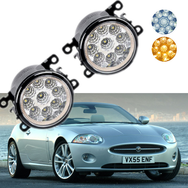 For Jaguar XK Convertible Coupe JB43 2006-2015 9-Pieces Leds Chips LED Fog Light Lamp H11 H8 12V 55W Halogen Fog Lights