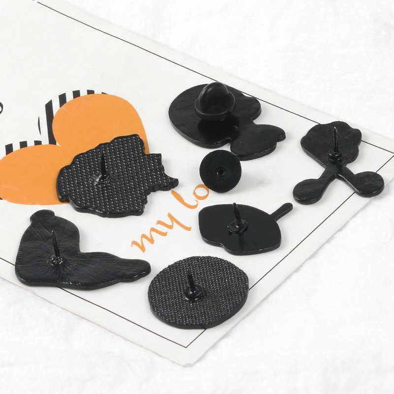 6 Gaya Bros Koleksi Gadis Jaket Kulit Twisted Jam Lidah Mulut Eyeliner Enamel Pin Bros untuk Teman-teman Gadis