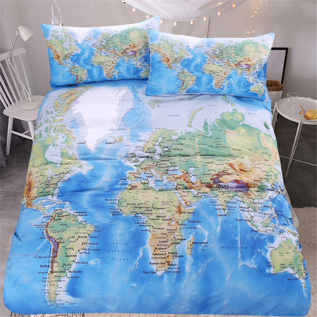 Bedding Set 3 Pieces World Map Bedding Set Vivid Printed Blue Quilt ...