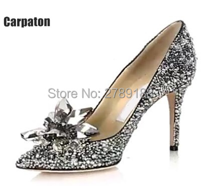 Cinderella Shoes Rhinestone New 2017 Bridal Women Pumps Sexy Prom Wedding Shoes High thin Heels Pointed Toe Free shipping 2015 sexy women black rhinestone rivet high heels wedding party prom shoes with silver spikes rivet pumps free shipping