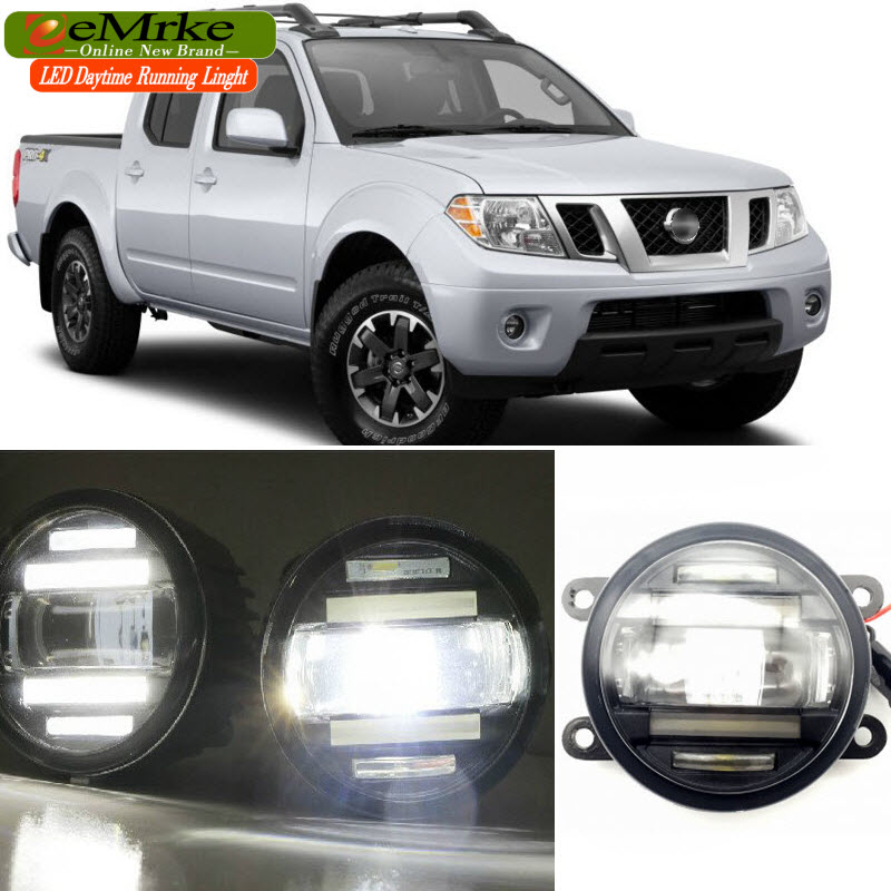EEMRKE Car Styling for Nissan Frontier 2005-2015 2 in 1 Double LED DRL Cut-line Lens Fog Lights Daytime Running Lights for opel astra h gtc 2005 15 h11 wiring harness sockets wire connector switch 2 fog lights drl front bumper 5d lens led lamp