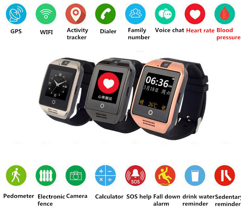 Blood Pressure Heart Rate GPS Watch WIFI LBS AGPS DBS GPS Smart Watch for Men Women SIM Card Call APP Wristwatch for Android&IOS jaysdarel heart rate blood pressure monitor smart watch no 1 gs8 sim card sms call bluetooth smart wristwatch for android ios
