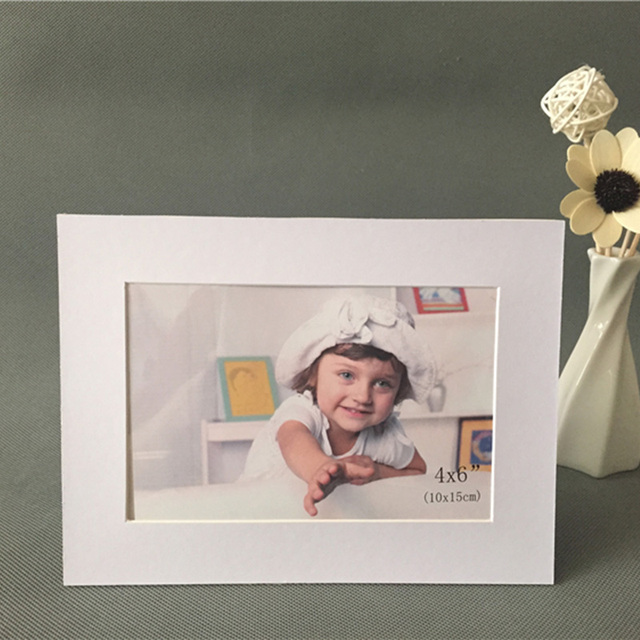White Bevel Cut Acid Free Cardboard Photo Frame for 4x6 Pictures ...