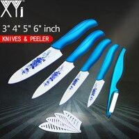 XYj 5 Piece Set Kitchen Knives Ceramic Knife 3 4 5 6 Inch Sharp Peeler White