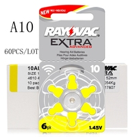60 PCS Zinc Air Rayovac Extra Performance Hearing Aid Batteries A10 10A 10 PR70 Hearing Aid