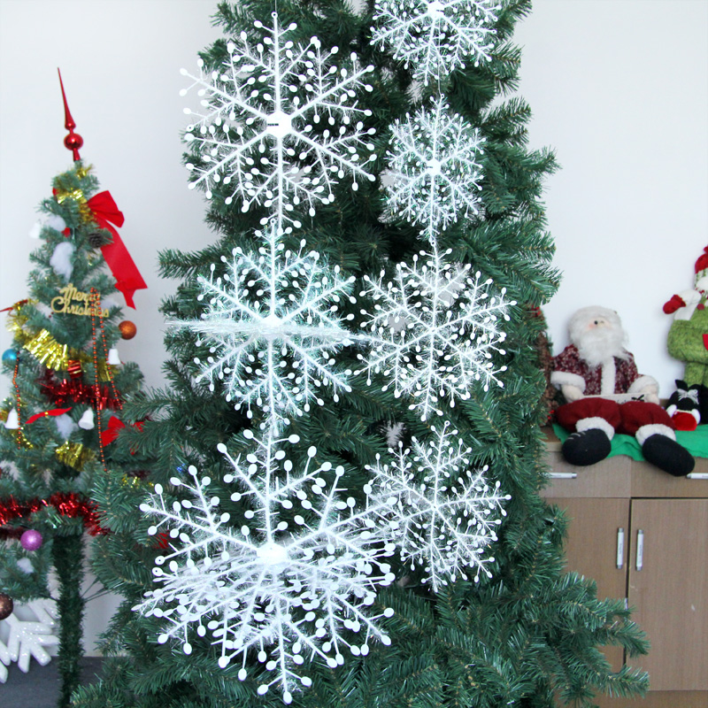 Charming Christmas Tree Producers Part - 3: 4pcs 8-28CM Snowflake Christmas Tree Decoration Ornaments 2D Flat  Snowflakes Glitter Twisted Effect Optional Size