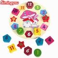 Simingyou Dibujos Animados Juguetes de Madera Juguetes educativos para Niños Bebé Niño Niña Rompecabezas de Geometría Digital Clock WRB23