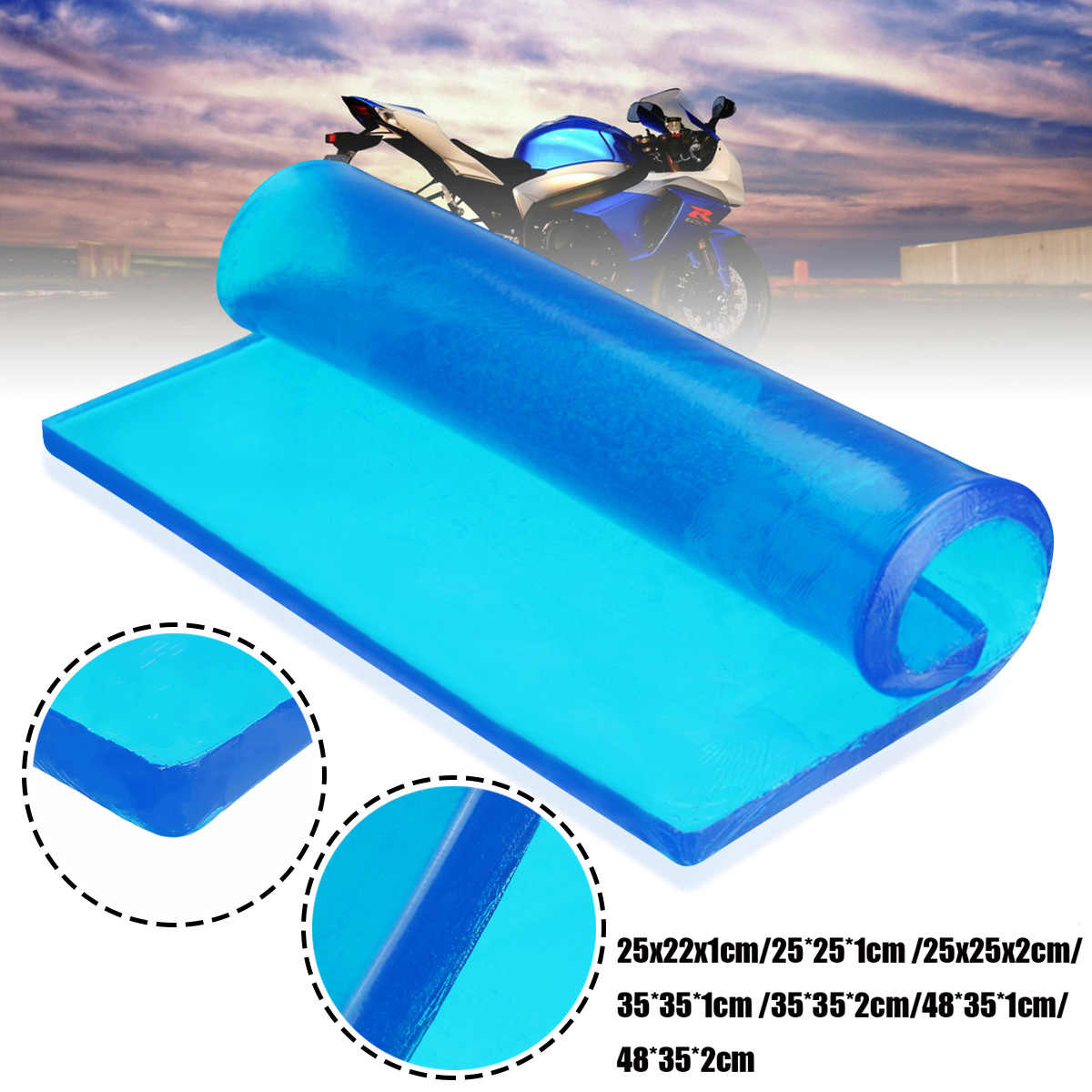 Home Bright New Diy Modified Gel Pad Motorcycle Seat Cushion Comfortable Shock Absorption Damping Mat With Sunscreen Anti-slip Seat Cover