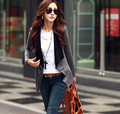 2015 Fashion Fall Winter Coat Women Grey Black Plus Size Casual Loose Zipper Cotton Cardigan Jackets for Ladies