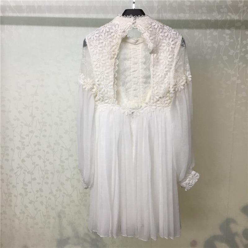 Été blanc robe femmes 2018 Sexy dos nu dame à manches longues robe de mode femmes lâche robe - 2