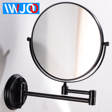 Bathroom Mirror Black Cosmetic Mirror Wall Mounted Stainless Steel 8 Inch Round Folding Make Up Mirror Magnifying Vanity 2 Face недорого