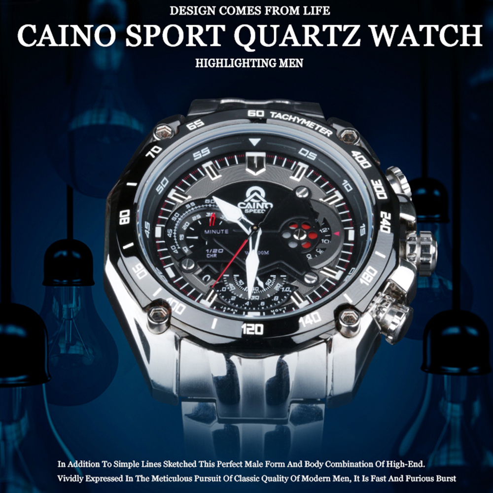 CAINO Luxury Brand Watches Men Stainless Steel Business Casual Sport Multifunction Men Wrist Quartz Watch Waterproof 100m #330 longbo men and women stainless steel watches luxury brand quartz wrist watches date business lover couple 30m waterproof watches