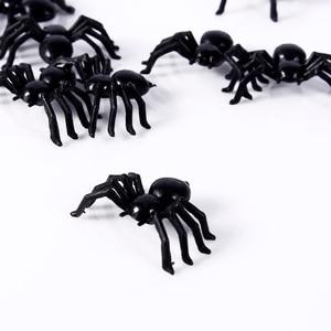 50 шт./лот декоративные пауки для Хэллоуина 21x44 см маленькие черные пластиковые поддельные пауки игрушки для Хэллоуина забавная шутка розыгрыш реалистичный реквизит